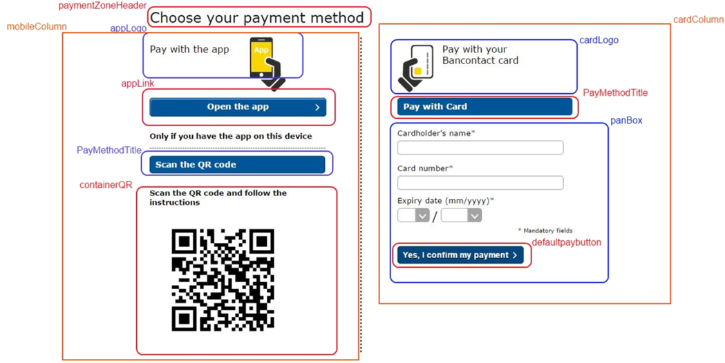 Payment page layout